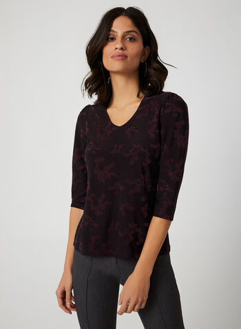 Floral Jacquard Top, Purple, hi-res,  Canada, top, floral, jacquard, V-neck, 3/4 sleeves, fall 2019, winter 2019