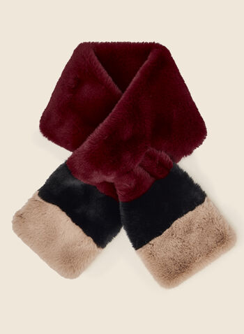 Colour Block Pull-Through Scarf, Red,  scarf, pull-through, faux fur, colour block, winter, fall winter 2020
