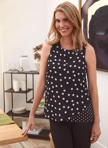 Polka Dot Print Sleeveless Top, Black,  top, sleeveless, chiffon, polka dot, high low, tulip, spring summer 2021