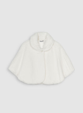 Nina Leonard - Faux Fur Capelet, Off White,  Nina Leonard, faux fur, capelet, fall 2019, winter 2019