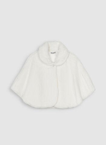 Nina Leonard - Cape en fausse fourrure, Blanc cassé,  cape, fausse fourrure, bouton cristal, automne hiver 2019