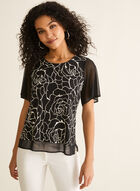 Abstract Floral Print Blouse, Black