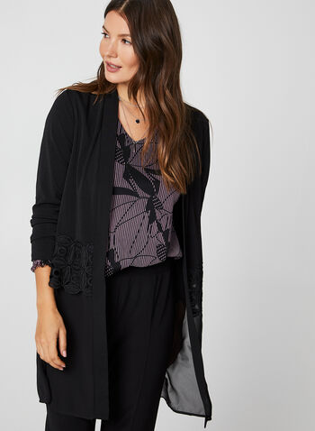 Chiffon Crochet Trim Duster, Black, hi-res,  canada, duster, long sleeves, chiffon, crotchet, crepe, fall 2019, winter 2019