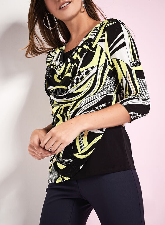 Drape Front Patchwork Print Top, Black, hi-res