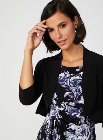 ¾ Sleeve Jersey Bolero, Black, hi-res,