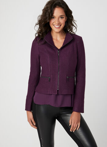 Wool Blend Cropped Jacket, Purple, hi-res