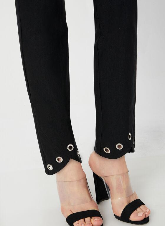 Pantalon à jambe étroite et détails œillets, Noir