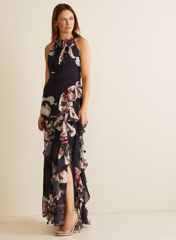 Floral Print Cleo Neck Dress, Blue,  evening dress, cleo neck, floral, sleeveless, tie detail, pleated, chiffon, cinched, ruffled, cascade, high slit, spring summer 2020