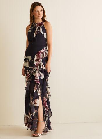 Robe en mousseline fleurie à col cléopâtre, Bleu,  robe de soirée, col cléopâtre, fleurs, sans manches, mousseline, volant, printemps été 2020