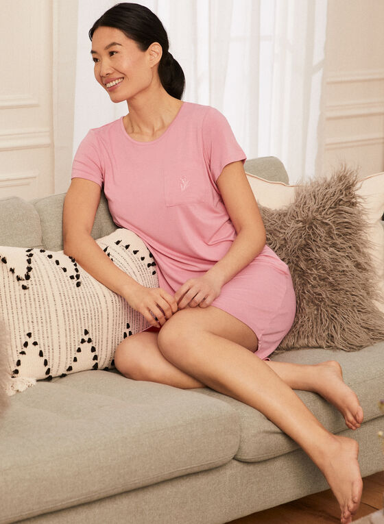 Pocket Detail T Shirt Nightgown, Pink