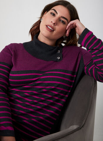 Striped Cowl Neck Sweater, Grey,  sweater, knit, long sleeves, cowl neck, stripes, fall 2019, winter 2019