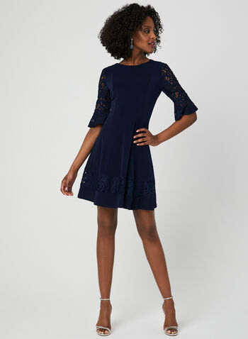 Bell Sleeve Fit & Flare Dress, Blue, hi-res