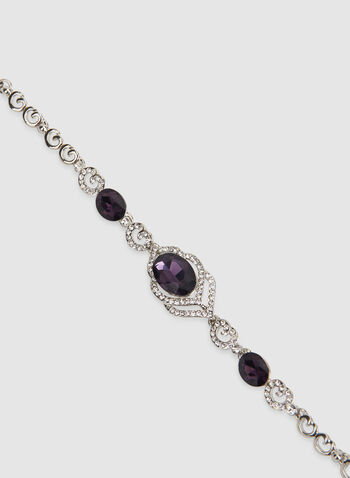 Crystal Detail Stone Bracelet, Purple, hi-res,  crystal bracelet, stone bracelet
