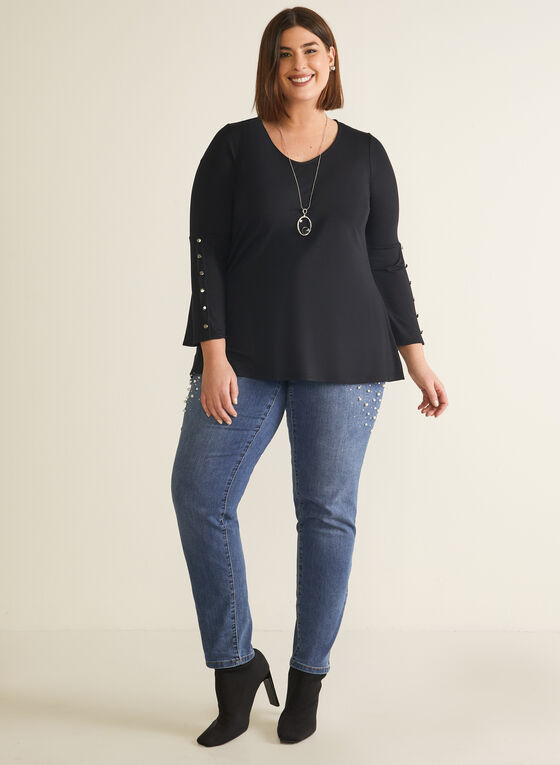 Bell Sleeve Button Detail Top, Black