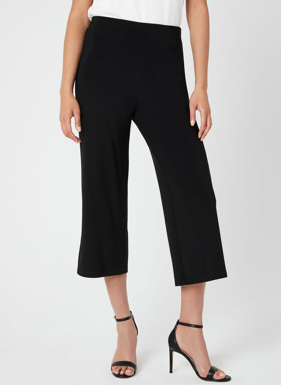 Wide Leg Capri Pants, Black