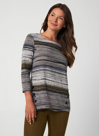 Stripe Print Top, Grey, hi-res,  fall winter 2019, 3/4 sleeves, scoop neck, stripe print
