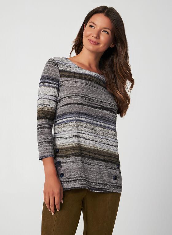 Stripe Print Top, Grey, hi-res