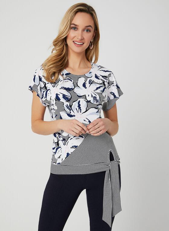T-shirt noué à fleurs et rayures, Bleu, hi-res