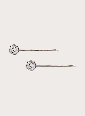 Crystal Stone Hair Pin , Silver, hi-res