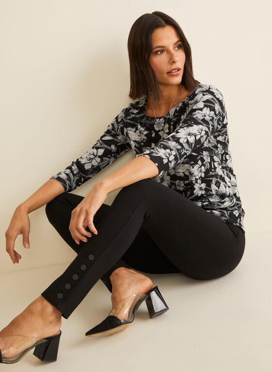 Button Detail Leggings, Black