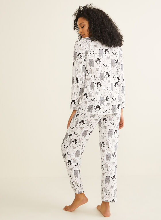 Bellina - Mixed Animal Print Pyjama Set, Black
