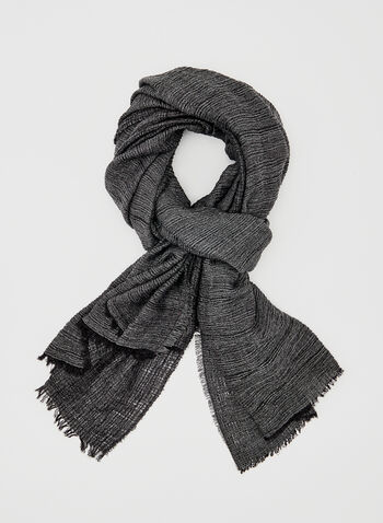 Crinkled Fringed Wrap, Black, hi-res