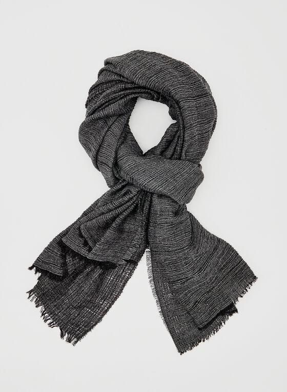 Foulard léger aspect froissé, Noir, hi-res