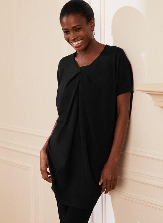 Tunique à manches courtes et effet plissé, Noir
