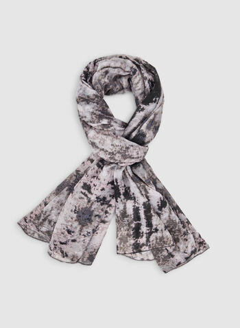 Aztec Print Scarf, Grey,  scarf, Aztec, fall 2019, winter 2019