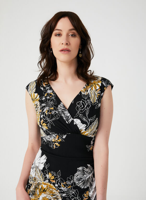 Floral Print Empire Waist Dress, Black, hi-res