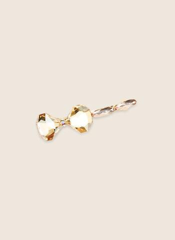 Crystal Bow Hair Clip, Gold,  hair clip, hair accessory, crystals, crystal clip, spring 2020, summer 2020