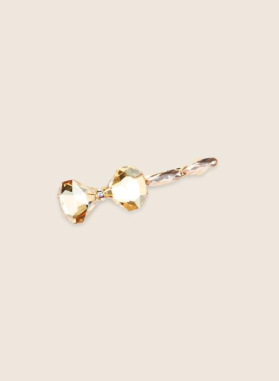 Crystal Bow Hair Clip, Gold
