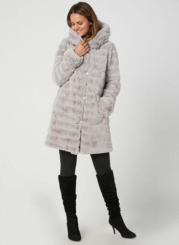 Reversible Hooded Coat, Silver,  faux fur coat, hooded coat