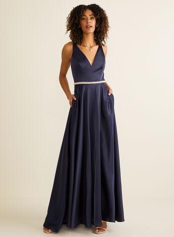 Embellished Satin Gown, Blue,  prom dress, a-line, sleeveless, plunging v, stones, pearls, spring summer 2020