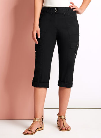 Modern Fit Cargo Capris, Black, hi-res