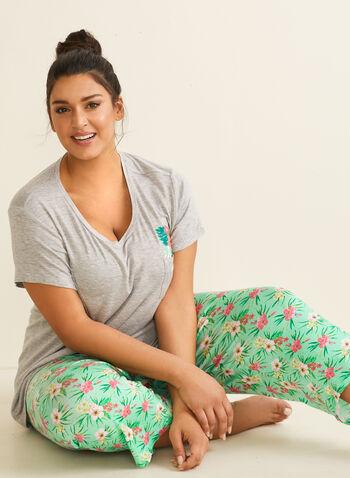 Pillow Talk - Pyjama 2 pièces motif tropical, Bleu,  pyjama, t-shirt, capri, fleur, tropical, poche poitrine, printemps été 2020