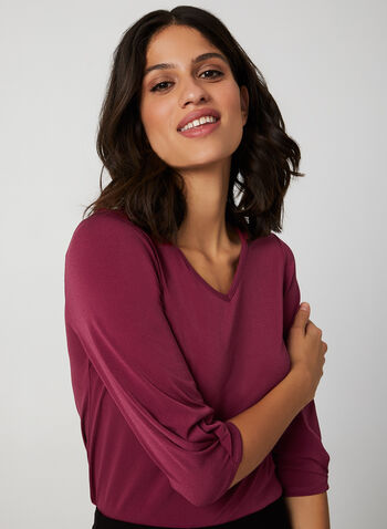 ¾ Sleeve V-Neck Top, Red, hi-res,  top, 3/4 sleeves, v-neck, crepe knit, fall 2019, winter 2019