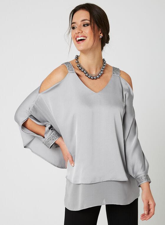Elana Wang - Layered Satin Batwing Top, Silver, hi-res