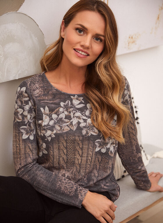 Floral & Cable Print Top, Brown