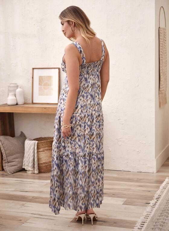 Abstract Print Chiffon Maxi Dress, White