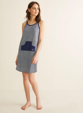 Claudel Lingerie - Chemise de nuit à poche, Bleu,  printemps été 2020, chemise de nuit, pyjama, bretelles, sans manches, Claudel Lingerie