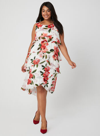 Floral Print Tiered Dress, White, hi-res,  Spring 2019, sleeveless, chiffon, tiered