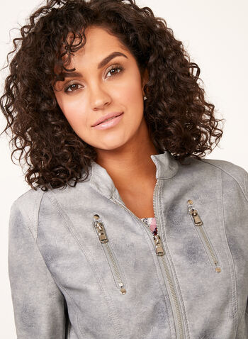 Ness - Structured Faux Leather Jacket, Grey, hi-res