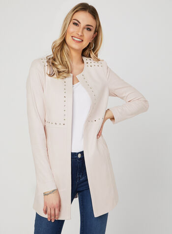 Studded Open Front Jacket, Pink, hi-res
