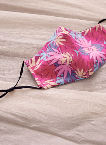 Tropical Print Mask With Filters, Pink,  spring summer 2021, mask, fabric mask, cloth mask, cotton mask, reusable mask, adjustable straps, printed, machine washable, accessories, face mask, filters, cotton, tropical print, tropical motif, tropical
