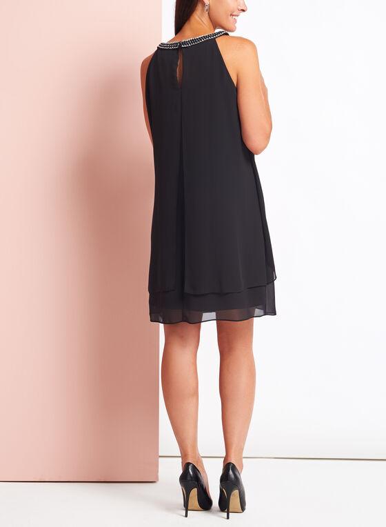 Link Chain Embellished Chiffon Dress, Black, hi-res