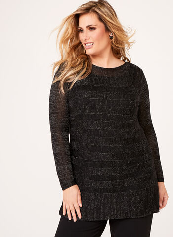 Metallic Stripe Knit Tunic , , hi-res