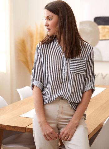 Charlie B - Printed Popover Shirt, Black,  spring summer 2021, Charlie B, designer, brand, stripe print, striped, printed, popover, shirt, blouse, half button down, split neck, V neck, 3/4 sleeve, roll up sleeve, tunic