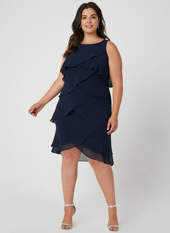 Tiered Chiffon Dress, Blue, hi-res,  tiered, chiffon, cocktail dress, sleeveless, fall 2019, winter 2019