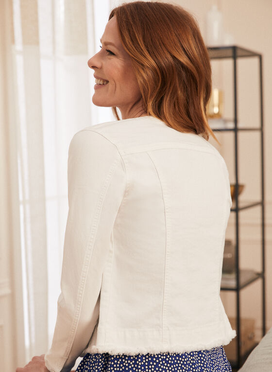 Pearl Detail Denim Jacket, Off White